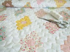 English paper-pieced hexagon quilt by Pretty By Hand