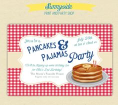 Invite my grand-babies over for pancakes. Come in PJS Part idea:BOYS Pancakes and Pajamas Birthday Party Invites - Printed Set