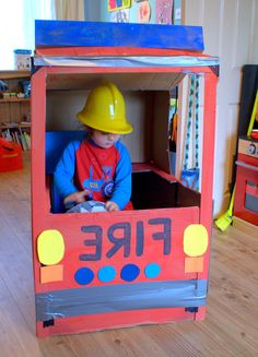 Cardboard box Fire Engine Fun - Well what would you do with a giant cardboard box and a free evening?