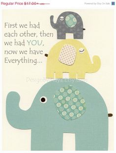 Gender Neutral Nursery Art Decor For Kids - Gender Neutral Nursery Art, Baby Elephant - First We Had each Other - Gray Yellow Turquoise Aqua...