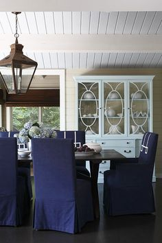 China cabinet, stencil pattern on glass? decor, dining rooms, chair, idea, china cabinets, dine room, design interiors, hous, blues