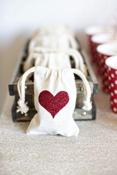 glittered heart muslin bags