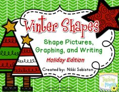 Create 6 different winter/holiday pictures using basic shapes. Then sort, tally, graph, and write about it. Great for practicing cutting skills and spatial skills.