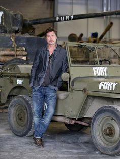Crackin layered look of denim, chambray, and silk Mr. Pitt #VeniceFilmFestival #Fury