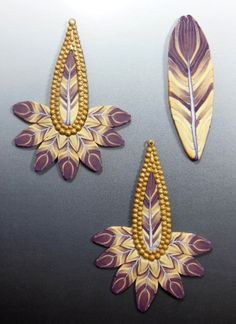Earrings with feather cane by Barbara McGuire (Tutorial by Donna Kato) . Lightweight and double sided!