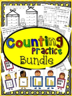 "Complete set for counting practice. Flashcards with numerals, number words, base ten blocks, tally marks, and ""I have - Who has"" games. Worksheets for counting on number lines, hundreds charts, counting objects, and skip counting. I use the flashcards with my small groups, in pocket chart centers, in matching activities, and I send them home for extra practice. The worksheets are offered in different levels of difficulty so you can differentiate instruction. You will use these year after year."