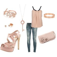 School outfit on 12/2/11 inspiration, schools, pale pink, pink outfits, blushes, night outfits, fashion inspir, school outfits
