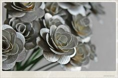 Silver Wooden Roses with Stems