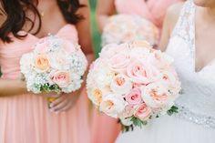Peach accent wedding bouquet.