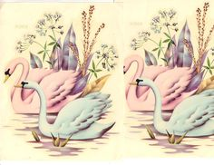 Meyercord decals of pink and blue swans