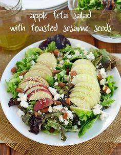 Apple Feta Salad with Toasted Sesame Seeds at The Well Floured Kitchen