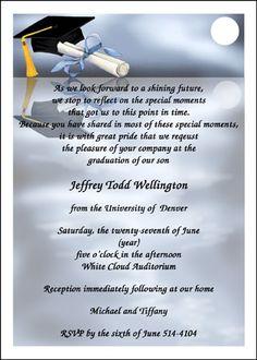 Graduation Invitation Wording Etiquette