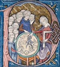 Personification of Geometry - 14th century education in spatial thinking. Illuminated manuscript; detail of initial letter P.