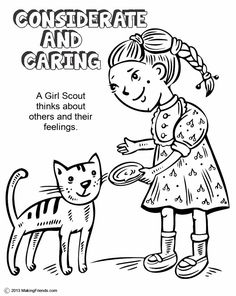 Daisy Girl Scout Spring Green Petal, Considerate and Caring. Print all the pages to make a coloring book to help learn the Girl Scout Law. Go onto MakingFriends.com to print them all!