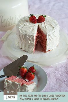 Strawberry Layer Cake with Amaretto Swiss Meringue Buttercream. @bridget edwards {bake at 350} is sharing this colorful spring recipe on the @TODAY May 1!
