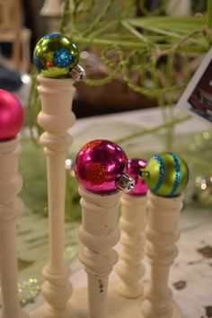 Ornaments on finials at www.chartreuseandco.com/tagsale