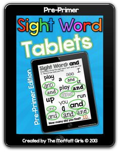 Sight Word Tablets! PRINTABLE iPads for every sight word!  Just print, laminate and use a dry erase marker for some FUN sight word practice! $5