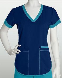 NRG Scrubs and Uniforms 3159 3 Pocket Squared V-neck Top
