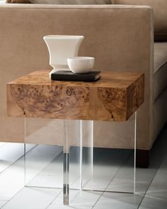 """""""Bond"""" Lucite End Table by Jonathan Adler at Horchow."""