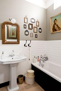 Picture frames. Bathroom via Style Me Pretty. #laylagrayce #bathroom