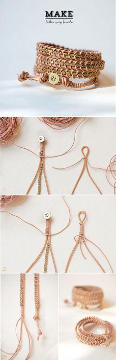 leather wrap bracelet tutorial, project, idea, craft, diy leather, leather wrap bracelets, diy bracelet, leather bracelet, jewelri