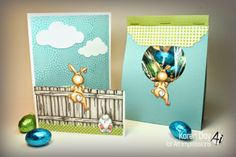 """(Front of card and bag) Front & Back Easter card from Art Impressions Images:""""The Fence"""" (Sku#P1499), Bunny FB (Sku#K1566), F & B Peeking Rabbit (Sku#K1750), Egg Basket (Sku#G1755), Got Eggs? (Sku#D4015) fronts and backs from Ai"""