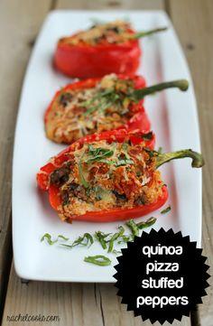 Pizza Quinoa Stuffed Peppers