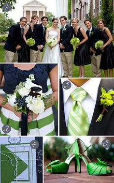 #Wedding #Colours... 3 main colours:- Navy, white & tan + 2 accent colours:- new chartreuse & emerald ... More wedding ideas for brides & bridesmaids, grooms & groomsmen, parents & planners ... https://itunes.apple.com/us/app/the-gold-wedding-planner/id498112599?ls=1=8 … plus how to organise an entire wedding, without overspending ♥ The Gold Wedding Planner iPhone App ♥