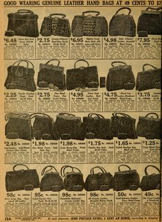 Leather purses from Sears 1912 catalog.