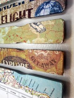 Decoupage paint sticks and add heavy duty magnets to the back