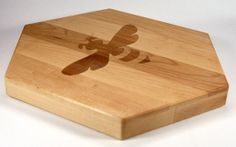 honeybee hexagon shape | Bee and Honeycomb Hex Shaped Cutting Board Maple with Cherry Inlay