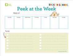 Free printable weekly schedule: Love how simple this is.
