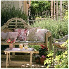 outdoor rooms, outdoor living, secret garden, shabby chic, garden benches, gardens, patio, outdoor spaces, country