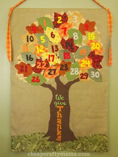 Thankful tree by Cheap Crafty Mama-  each day in November add a note with about what you are thankful for!