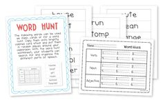 Parts of Speech Freebie! This word hunt around the classroom will help you assess your students on nouns, verbs, and adjectives.
