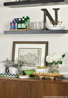 use a long tv console table and shelves for food buffet when entertaining #entertaining #footballparty