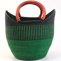 Fair Trade, Sustainable Wage, handmade African baskets _ -Ghana bolga tote