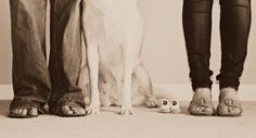 Maternity Feet photo with dog --- do this with the full family instead of maternity??