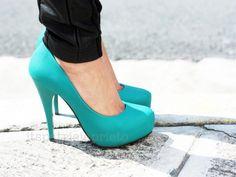 teal stilettos