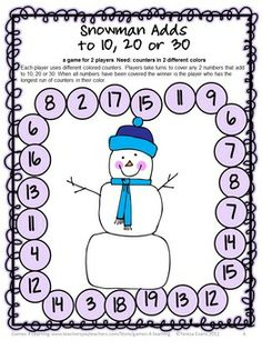 Cute and fun math game from Snowman Math Games Addition and Subtraction from Games 4 Learning $