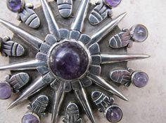 William Spratling Large Silver Amethyst Brooch by TaxcoTreasures, $3200.00