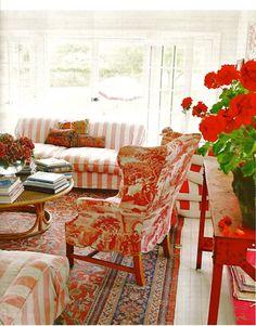 Stripes, Toile + Oriental rug
