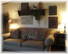 . primitive livingroom, couch, countri stylish, thi hand, hand tinker