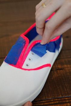 Neon Lined Canvas Sneakers - 20 Creative DIY Shoes Decorating Ideas, http://hative.com/creative-diy-shoes-decorating-ideas/,