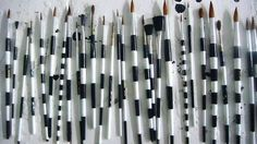 Black and white striped diy hand-painted paintbrushes.