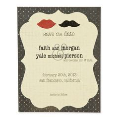 "This save the date is so much fun and so on trend using the smallest lips and mustache off of our Smooches and Mustache die. These around 1"" shapes are great for confetti on tables or fun accents on invitations or photographs. See more at www.accucutcraft.com"