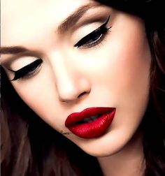 #classic red lip + cat #eyes