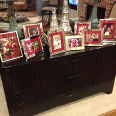 Use holiday color mats and embellishments to give a festive flair to framed picture displays