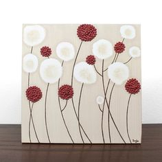 Textured Flower Painting - Original Acrylic on Canvas Art - Khaki and Red Wall Art