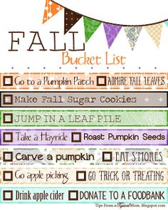 Tips from a Typical Mom: Free Fall/ Autumn Bucket List Printable